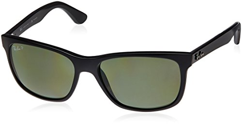(Ray-Ban RB4181 Square Sunglasses, Black/Polarized Green, 57 mm)