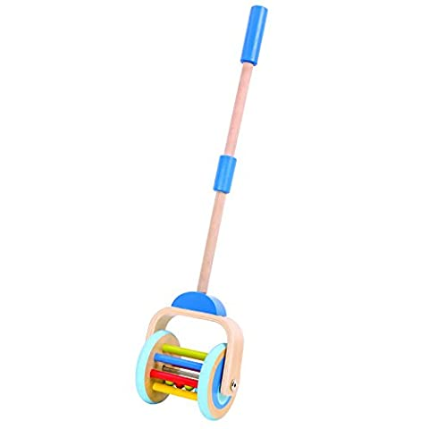 Timy Wooden Push Along Roller Push and Pull Walking Toy for Baby Toddler