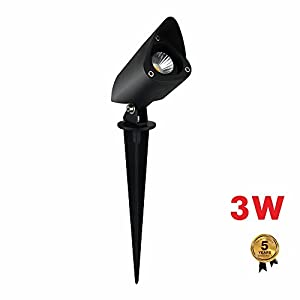 INTETEIN Landscape Lights Low Voltage Landscape Lights Garden Lights and Yard Lights, 3W 12V Waterproof Landscape Lighting for Trees Lawn Pathway Yard Garden with Spike Stan (Warm White 1 Pack)