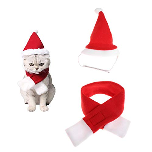 StyleZ Christmas Pet Red Scarf and Santa Hat Set Cute Xmas New Year Party Costume for Puppy Dog Kitten Cat