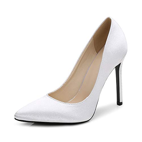 Women's Pointed Toe Slip On Stilettos High Heels Satin Dress Pumps for Wedding Party Office Silver Tag 36 - US B(M) 5.5