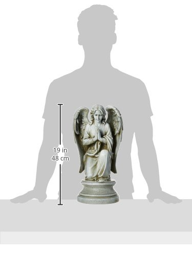 Joseph Studio 40063 Tall Praying Angel Kneeling on Pedestal Statue, 17.75-Inch