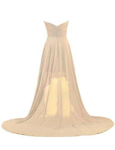 Court Avant Long Champagne Robe De Mousseline De Bal Du Soir Dos Fourmis Femmes