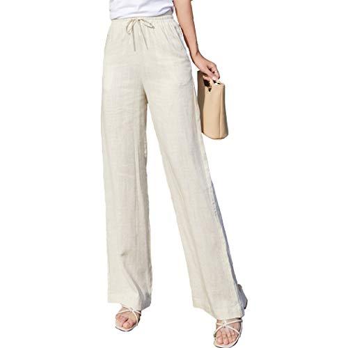 Fendou Women Linen Pants Casual Loose Straight Leg Elastic Waist Drawstring Trouser with Pockets Beige (Straight Leg Linen Trousers)