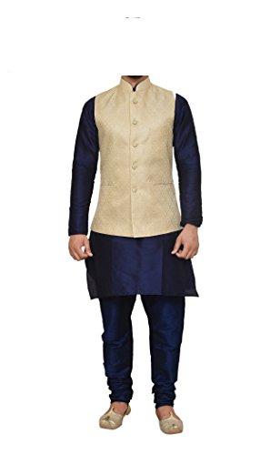 (Mag Men's Nevy Blue Matching silk Kurta Churidhar With New Gold Waistcoat (RG-10738-40))