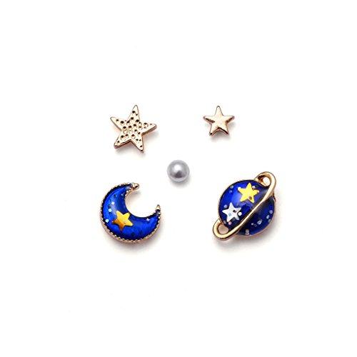 Dainty Stud Earrings Moon Star Planet Earrings Set Hypoallergenic Jewelry for Women Snowpra