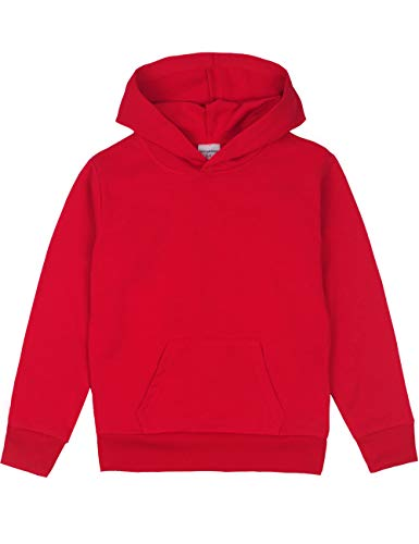 Spring&Gege Youth Solid Pullover Sport Hoodies Soft Kids Hooded Sweatshirts for Boys and Girls Size 7-8 Years Red Classic Hooded Kids Sweatshirt