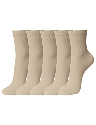 OSABASA Women Ankle High Sheer Cored Wire Socks 80 Denier,Comfortable and Breathable NUDESKIN Asia M (SET5KWMT07) by OSABASA