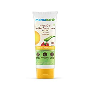 Mamaearth HydraGel Indian Sunscreen SPF 50, With Aloe Vera & Raspberry, for Sun Protection – 50g