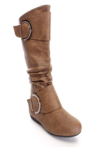 with Pu Toe Premium Boot Moda Round Buckle Cognac Top Women's Slouchy CAvYnqw