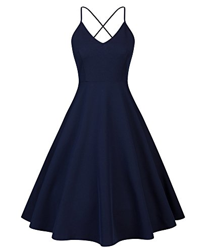 Eliacher Women's Deep V Neck Adjustable Spaghetti Straps Swing Summer Dress Sleeveless Sexy Backless Cocktail Dresses with Pocket(S, Navy (Navy Spaghetti)