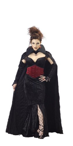 Women Large (10-12) - Countess of Mayhem Costume Dress and Cape (shoes, fishnets, earrings, rings, bracelet not included) ()
