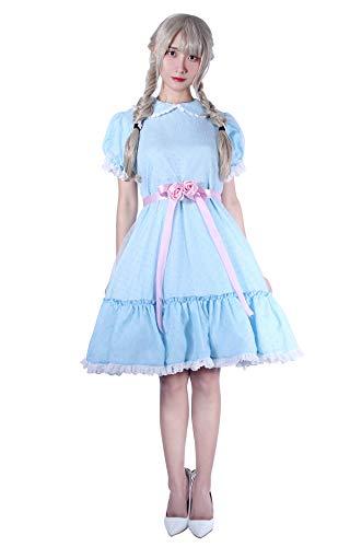 Women's Sweet Lolita Dress Blue Cotton Bow Puff Skirts Halloween Costumes by Nuoqi (Image #2)