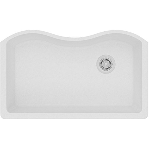 Elkay ELGUS3322RWH0 Quartz Classic Single Bowl Undermount Sink, White