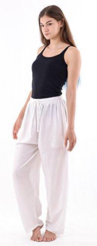 OaSa Womens Drawstring Pants- Comfortable Loose Fitting Mid Waist Beach Activity Lounge Wear (White-XL)