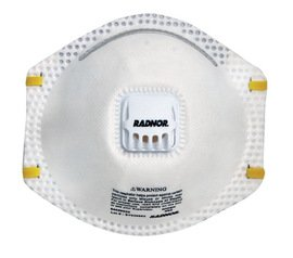 Radnor Mask Respiratory Disposable N95 Adjustable Nose Clip/Latex-Free/Valve Niosh - 1 Box of 10
