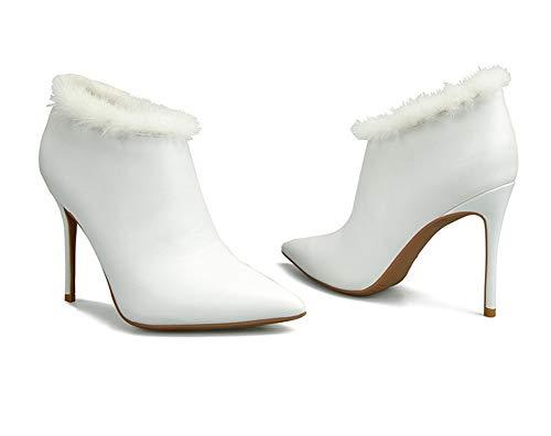 Kleid 35 Schwarz Party Absatz Stilett Mode Damen 42 Weiß Leder Spitzschuh Stiefel Größe Knöchel rot Frauen Hochzeit Abend xqawU64z