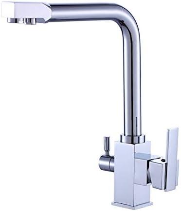 キッチン水栓 クローム仕上げ冷たいお湯ミキサーダブルハンドルコントロールクロームカラーキッチンシンク水栓ハイアーク銅キッチン蛇口 キッチンとバスルームに適しています