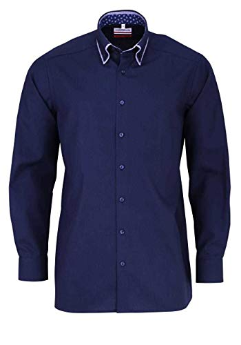 Marvelis Modern Fit Hemd ELA 69cm bügelfrei dunkelblau Doppelkragen Button Down Reine Baumwolle