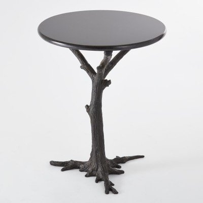 Global Views Black Iron Granite Tree Trunk Side Table | Accent Round Faux Bois Branch