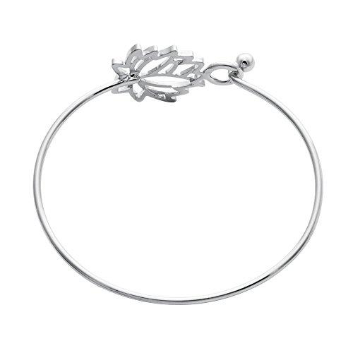 NOUMANDA Summer Style Pretty Lotus Flower Easy Open Hook Bracelet Bangle (Silver) by NOUMANDA (Image #1)