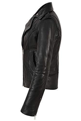 Vera Rock In 442 Agnello Nero Di Biker Pelle Giacca Donna Da Fashion Style Bxzaqg