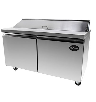 "SABA 60"" Two Door Sandwich Prep Table Refrigerator"