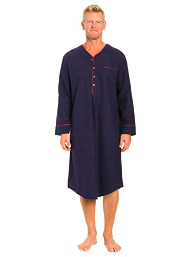 Noble Mount Men's Flannel Nightshirt - Windowpane Checks Blue/Red - Large]()