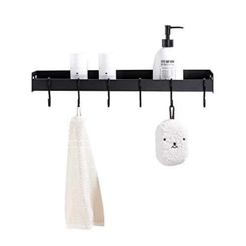 - LIKAMU Kitchen Black Floating Shelf with Hooks, Large Size Wall Mounted Bathroom Shelf Wall Shelf Organizer Rack