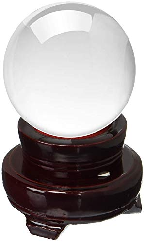 (Amlong Crystal 2 Inch (50mm) Clear Crystal Ball with Wood Stand,)