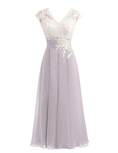 Women's Ivory Lace Top Chiffon Button V-Neck Bridesmaid Dresses with Cap Sleeves Mother of The Bride Dresses (US18W, Dusk)