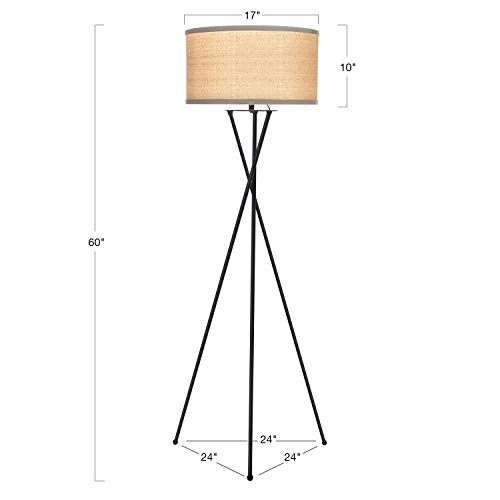 Brightech Jaxon Tripod LED Floor Lamp – Mid Century Modern, Living Room Standing Light – Tall, Contemporary Drum Shade Lamp for Bedroom or Office – Black by Brightech (Image #2)
