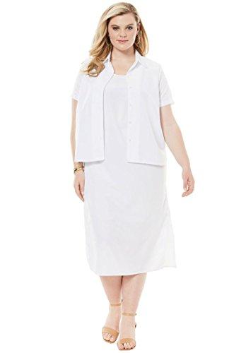 Roamans Women's Plus Size Jacket Dress Set - White, 24 -