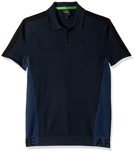 Shirts Armani Dress - A|X Armani Exchange Men's Two Toned Polo Shirt, Navy+Dress Blue +BLA, L