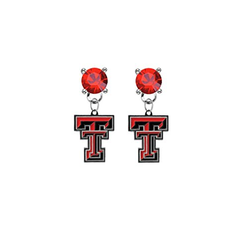 (Texas Tech Red Raiders Red Crystal Stud Post Dangle Earrings)