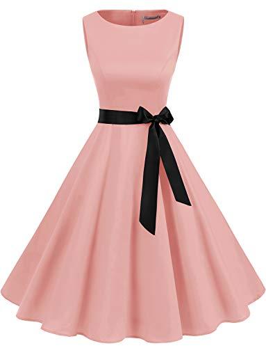 (Gardenwed Women's Audrey Hepburn Rockabilly Vintage Dress 1950s Retro Cocktail Swing Party Dress Blush L)