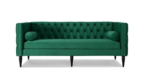 Jennifer Taylor Home 63730-3-950 Diane Tuxedo Sofa Ultramarine Green