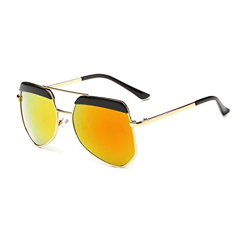 Sinkfish SG80022 Sunglasses for Women,Dazzling Color Oval Non-Polarizer - UV400/Goldenrod /Burlywood