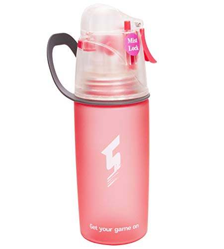 NOVOs Drinking and Misting Sports Water Bottle, Non-Toxic BPA Free, Fast Water Flow Opens with 1-Click, Portable Leak-Proof Spray Cup for Cycling Fitness Camping Hiking Outdoor (Pink-400ml)