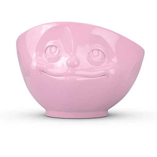 FIFTYEIGHT PRODUCTS TASSEN Porcelain Bowl, Dreamy Face Edition, 16 oz. Pink, (Single Bowl) for Serving Cereal, Soup