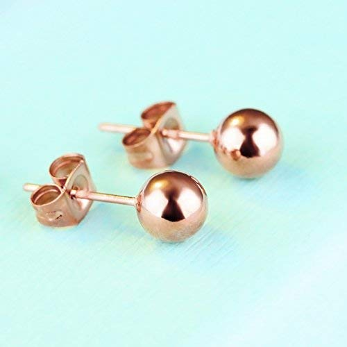 Lazycat simple rose gold bead earrings ball earrings stainless steel jewelry