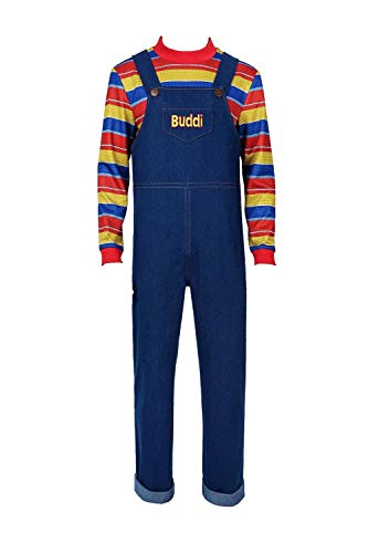 Adult Kids Rainbow Stripe Top and Overalls Cosplay Costume Halloween Party Outfit Full Set ()