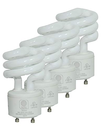 - SleekLighting GU24 Base 13Watt UL Listed T2 Mini Spiral Two Prong Twist CFL Light Bulb 2 Pin 5000K 800lm - 4pack