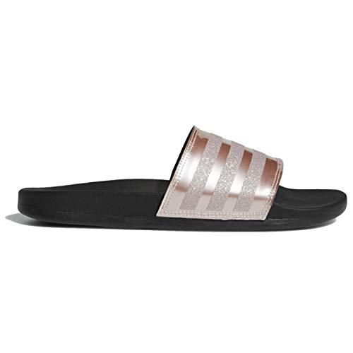 adidas Performance Women's Adilette Comfort Slide Sandal, Vapour Grey Metallic/Vapour Grey Metallic/Black, 8 M US