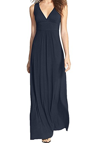 Dress Long Blue Neck Loose Sleeveless Women Navy Casual Maxi WOOSEA Plain V Deep n0wvA0x4q
