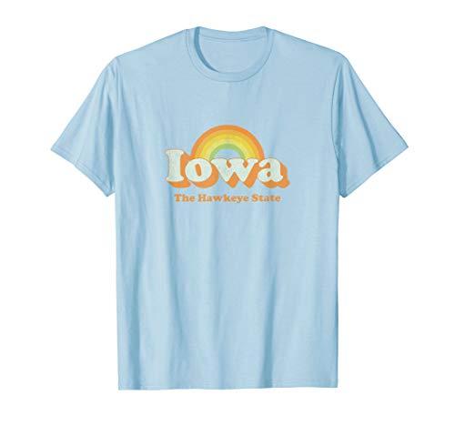 Retro Iowa T Shirt Vintage 70s Rainbow Tee Design