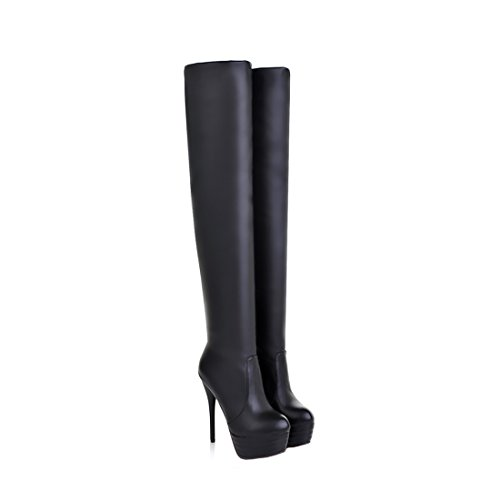 Womens Over Knee Thigh High Heel Stretch Boots Pointed Toe Faux Leather Pull On Sexy Boots Black