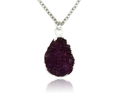 Taula Jewellery Druzy Quartz Pendant on White Rhodium Plated Brass Necklace (Burgundy Silver)