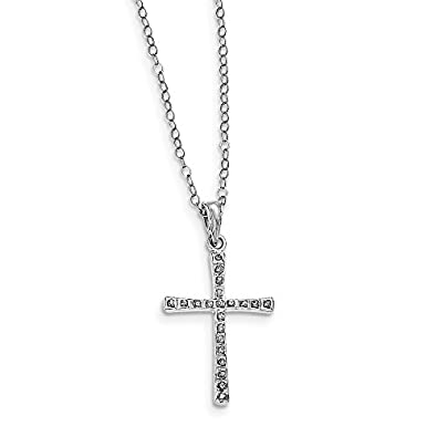 Sterling Silver Diamond Mystique Cross Necklace – 18 inches