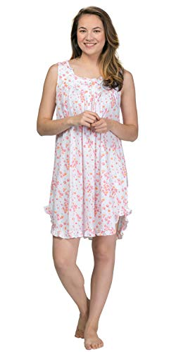 Eileen West Floral Cotton Knit Chemise, S, White Wildflower